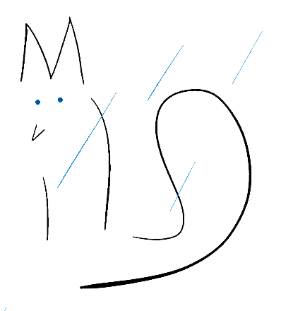a blue-eyed fox in the rain